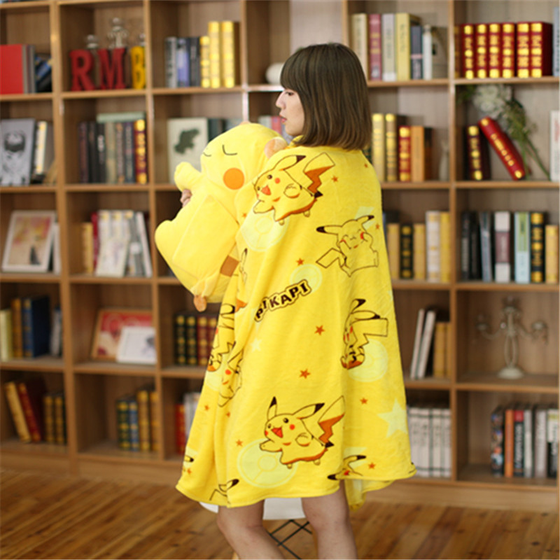 Explosion Style Cute Plush Toy Pillow Doll Cape Autumn Home Essential Animation Pikachu Pillow Cushion Doll Gift Cushion
