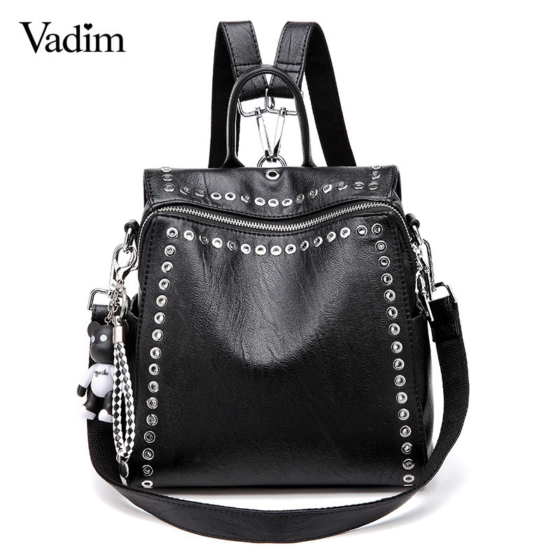 Vadim 2019 New Women Leather Backpack Rivet School Bags For Teenage Girls Fashion Female Bagpack Schoolbag Sac Feminina Mochila