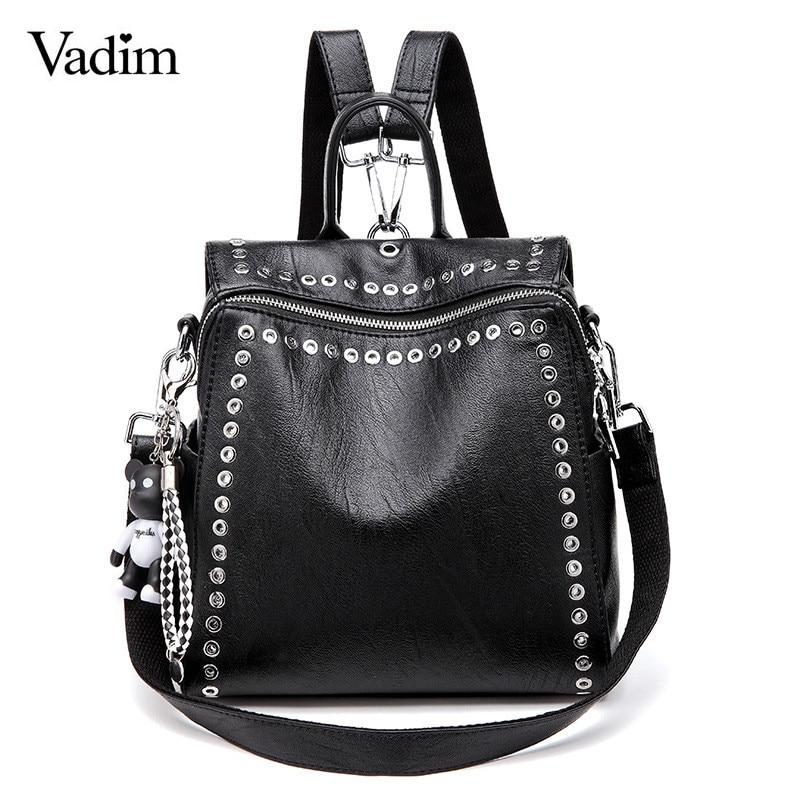Vadim 2019 New Women Leather Backpack Rivet School Bags For Teenage Girls Fashion Female Bagpack Schoolbag Sac Feminina Mochila