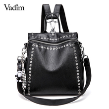 Vadim 2019 New Women Leather Backpack Rivet School Bags For Teenage Girls Fashio