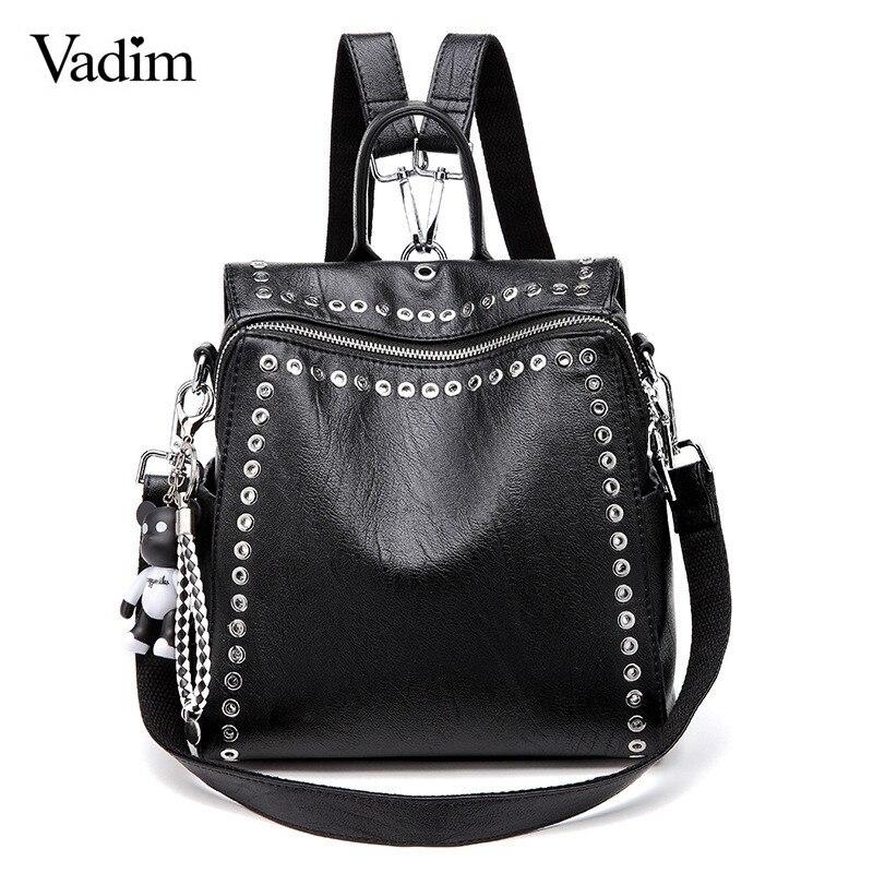 Vadim 2019 nueva Mochila de cuero para mujer remache mochilas escolares para chicas adolescentes moda femenina Mochila bolsa de escuela saco femenina Mochila