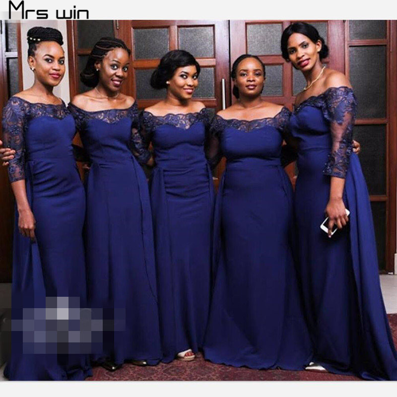 Mrs Win Bridesmaid Dresses For Girls Boat Neck Wedding Guest Dress Plus Size Three Quarter Sleeve Long Vestido Madrinha HR092