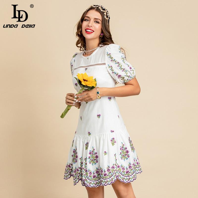 LD LINDA DELLA New 2021 Summer Fashion Designer White Cotton Dress Women Short Sleeve Charming Floral embroidery Elegant Dress