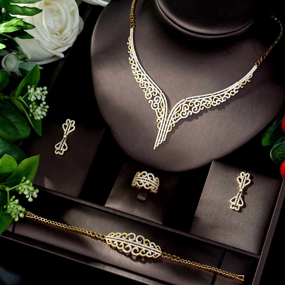 My Accessories HIBRIDE High Quality Cubic Zirconia Wedding Necklace and Earrings Luxury Crystal Bridal Jewelry Sets for Bridesmaids