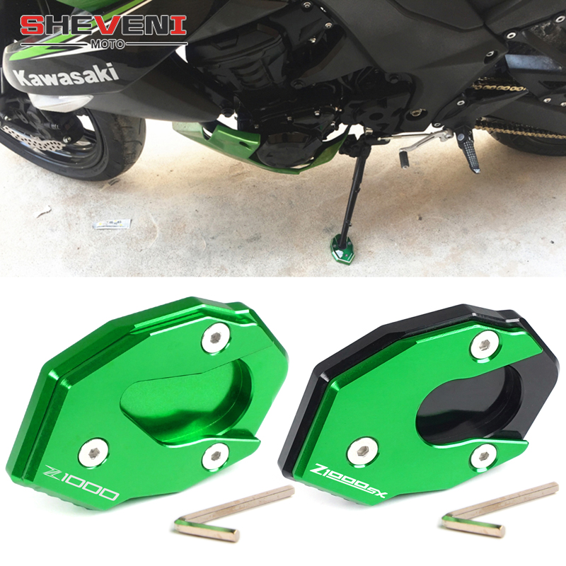 High Quality Green CNC Aluminum Side Stand Enlarge Extension For Kawasaki Z1000 2010 <font><b>2011</b></font> 2012 2013 2014 2015 2016 2017 <font><b>Z1000SX</b></font> image
