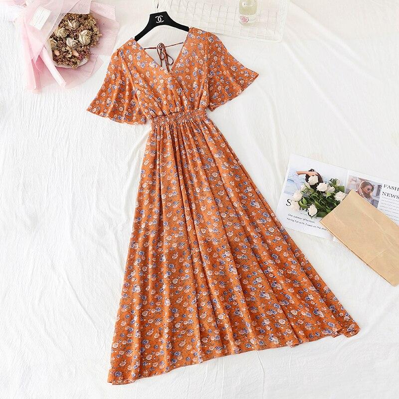 Summer Fairy Dress Women French Style Vintage Retro Chiffon Dress Short sleeve Casual Elegant Floral Print Dress Women 2021 New 13