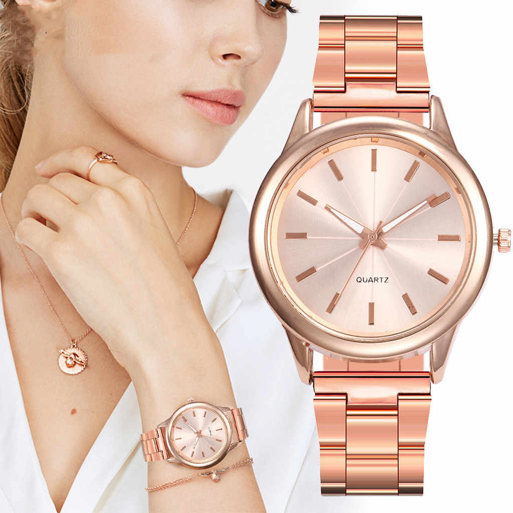Luxury Simple Ladies Watch Women Quartz Watches Rose Gold Stainless Steel Dial Casual Bracele Female Watch часы женские Gift /d