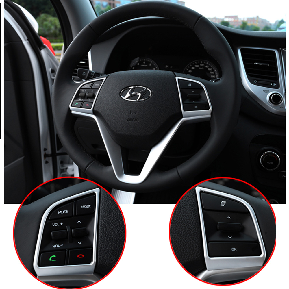 Car Steering Wheel Panel Trim Stickers For 2015 2016 2017 <font><b>2018</b></font> <font><b>Hyundai</b></font> <font><b>Tucson</b></font> TL Auto Interior Covers Car Styling Accessories image