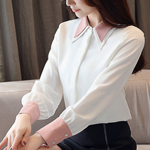 Blusas mujer de moda 2019 chiffon blouse shirts for women tops Button Solid  korean fashion clothing harajuku ladies 0301