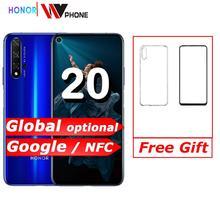 명예 20 NFC 휴대폰 Kirin 980 Octa Core 6.26 48MP 네 카메라 핸드폰 화면 3750mAh 배터리 스마트 폰