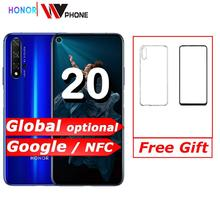 Onur 20 NFC cep telefonu Kirin 980 Octa çekirdekli 6.26 48MP dört kamera cep telefonu ekran 3750mAh pil akıllı telefon