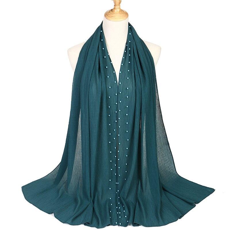 Image 3 - 2020 新夏ムスリム無地無地プリーツ真珠ビーズシフォンヒジャーブスカーフ女性のしわクリンクルジャージ女性のためのスカーフ    グループ上の アパレル アクセサリー からの レディース スカーフ の中