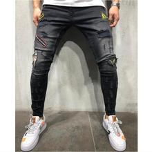 цена на 2019 Fashion Mens Black Jeans Streetwear Distressed Denim Pants Cotton Vintage HipHop Trousers punk style broken hole Jeans 3XL