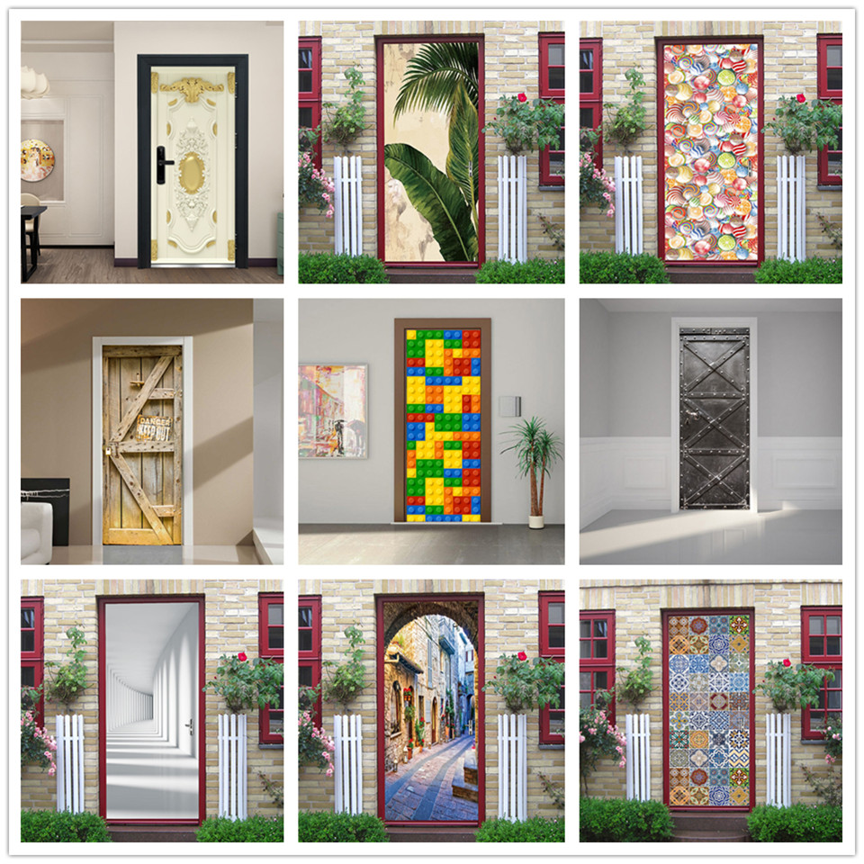 3D Adhesive Door Wallpaper Renovation Home Decor Waterproof Removable Poster Sticker Living Room Vinyl Wall Mural Deur Sticker