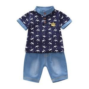 Wy239 maluch chłopiec ubrania letnie T Shirt + spodenki jeansowe spodnie zestawy stroje dzieci odzież dla dzieci dla chłopców 4-14 lat