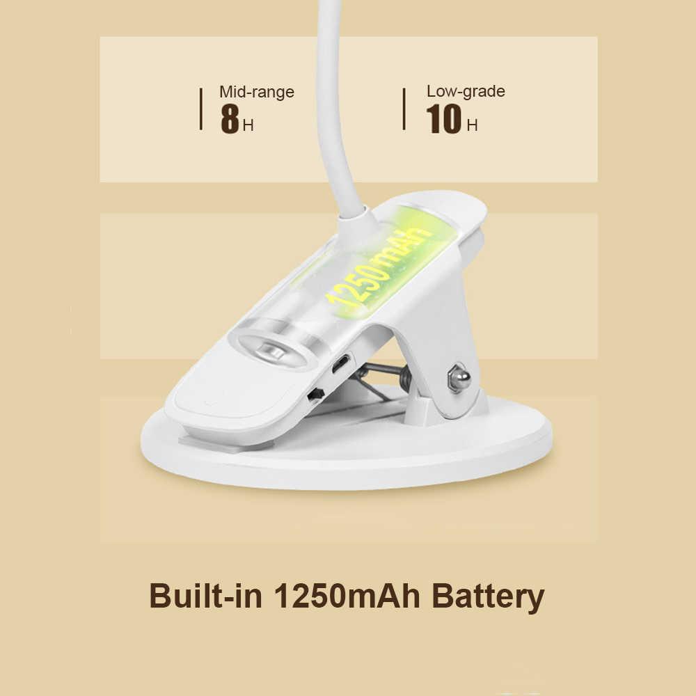 1250mAh Clip op Tafellamp Oplaadbare Dimbare LED Stand Desk Lamp Touch Schakelaar Kantoor Studie Leeslamp Tafel 4 kleuren