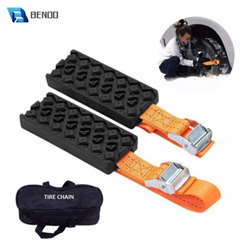 BENOO 1/2/4PCS Durable PU Anti-Skid Car Tire Traction Blocks With Bag Emergency Snow Mud Sand Tire Chain Straps For Snow Mud Ice