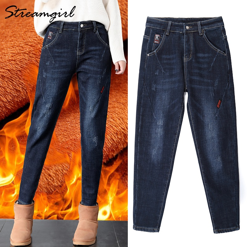 Streamgirl Women Warm Jeans Plus Size Feminino Winter High Waisted Boyfriend Jeans Fleece For Women Jean With Fleece Denim Pants