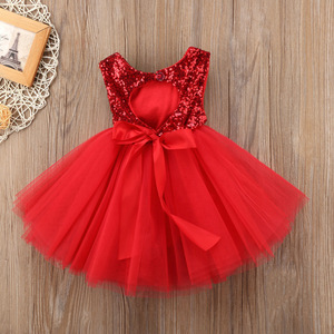 Backless Girls Dress Sequined Mesh Toddler Children Princess Dresses for 1 2 3 4 5 6 Year Toddler Kids Summer Party Clothes