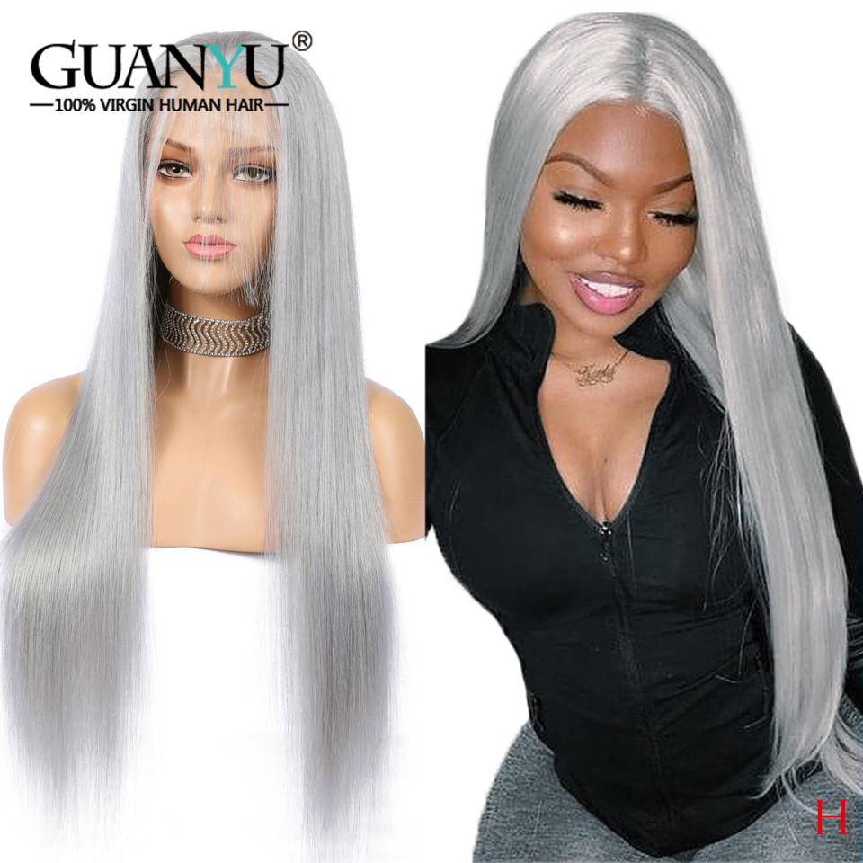 Grey Full Lace Human Hair Wig With Baby Hair Pre Plucked Brazilian Remy 150 Density