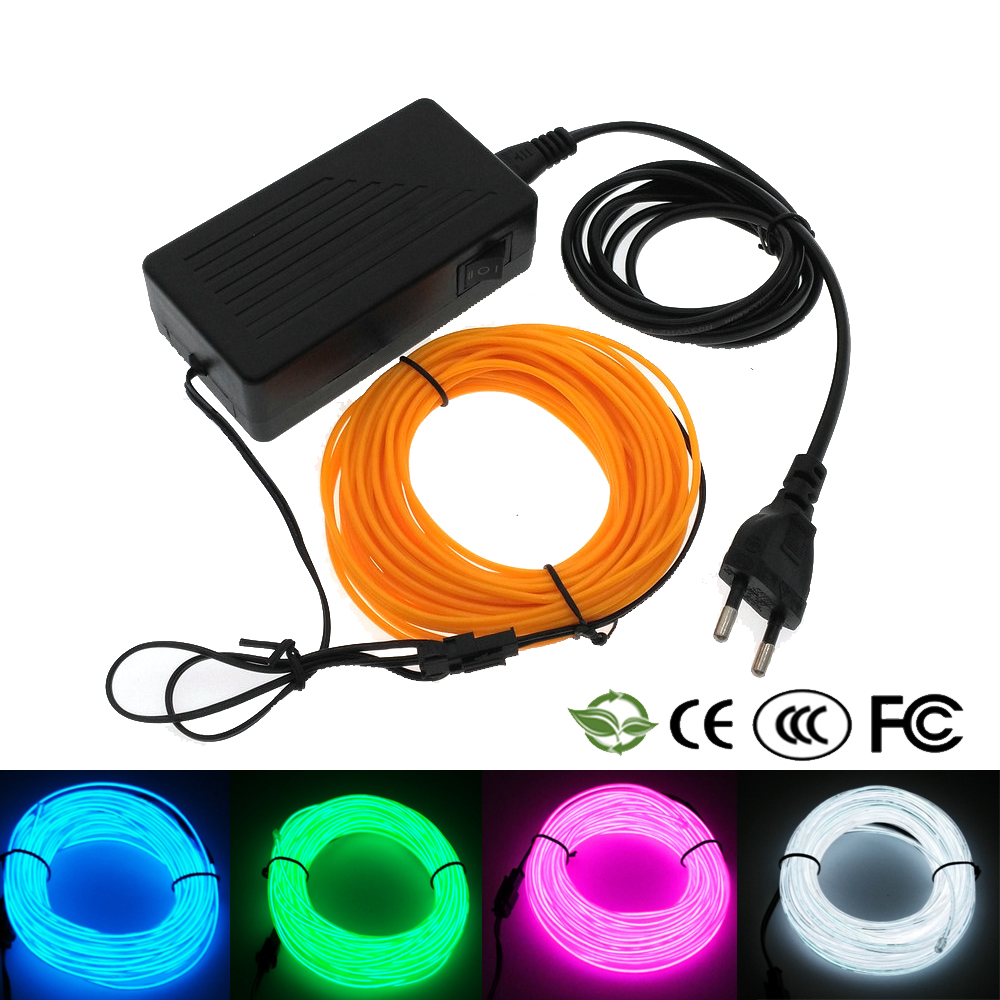 10M/20M/30M/50M Neon El Wire Lights  Decor Light Neon Lamp Flexible EL Wire Rope  Waterproof  For Dance Party Party Decoration