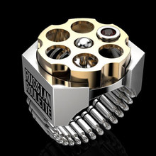 Moda mekanik rus rulet mermi yüzük iki ton geometrik yüzükler erkek gotik Steampunk parti zarif takı Z4T46