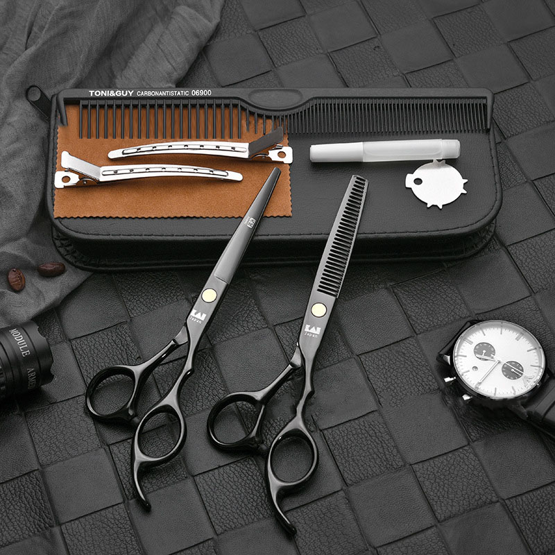 OLOEY Professional Hairdressing And Beauty Scissors Professional Hairdressing Set Tooth Scissors Thinning Shears Flat Hair Salon in Hair Scissors from Beauty Health