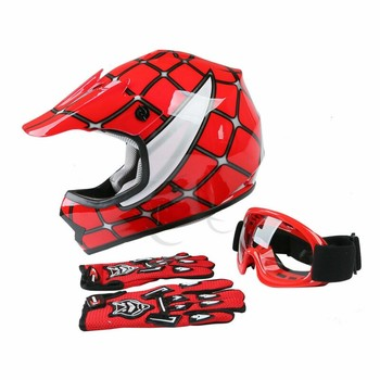 Motorcycle DOT Youth Kids Helmet Red Net Motocross Off-Road Helmet Goggles+Gloves gifts Kids Cycling casco moto Sports Safety 2