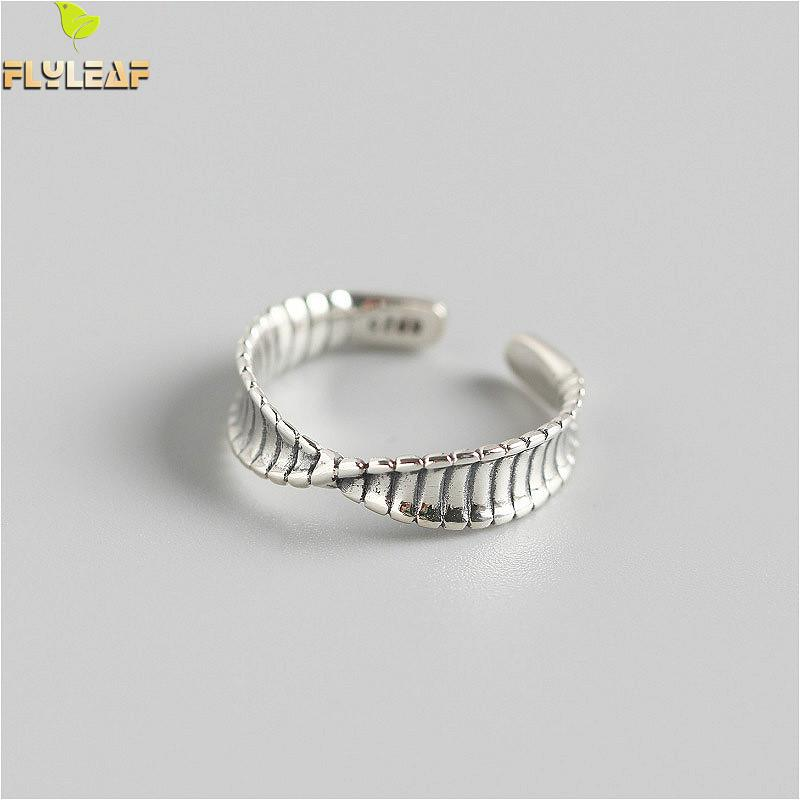 Flyleaf 100% 925 Sterling Silver Twist Pattern Mobius Open Rings For Women Personality Girl Gift Fine Jewelry