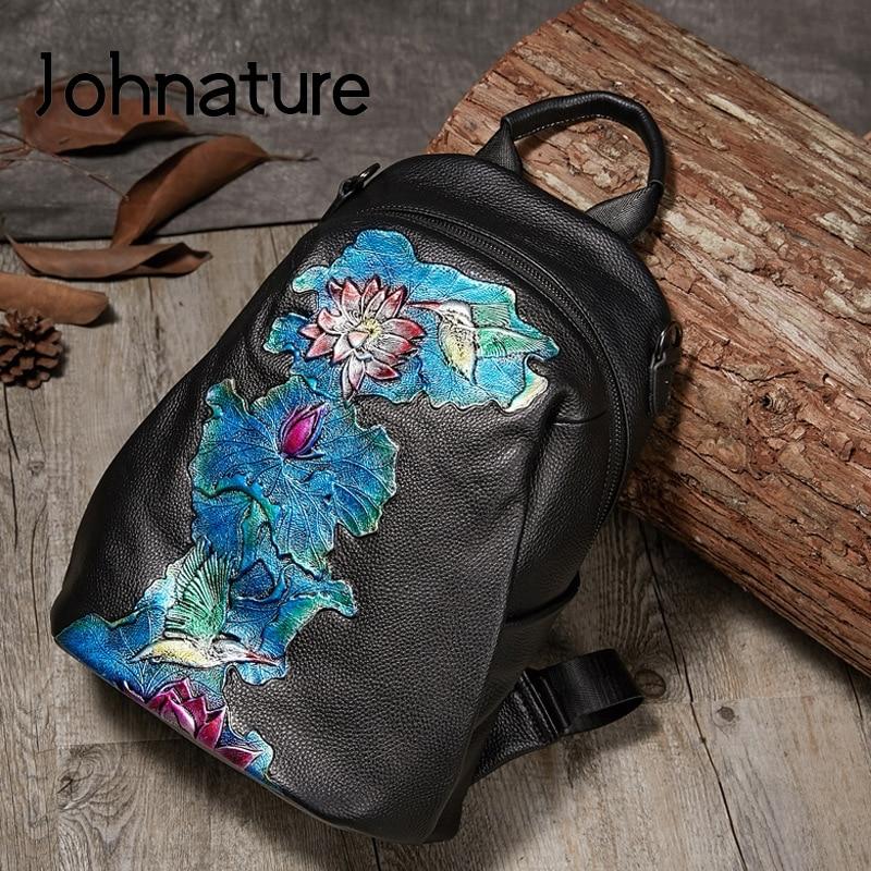 Johnature High Quality Genuine Leather Women Backpack 2020 New  Retro Handmade Embossing Cowhide Leisure Travel Bag BackpackBackpacks