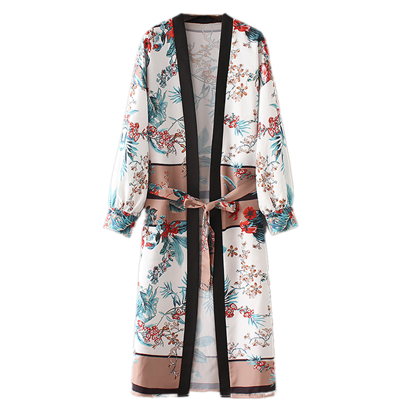 2020 Womens Belt Bandage Shawl Print Kimono Cardigan Top Cover Up Blouse Beachwear Dropshipping