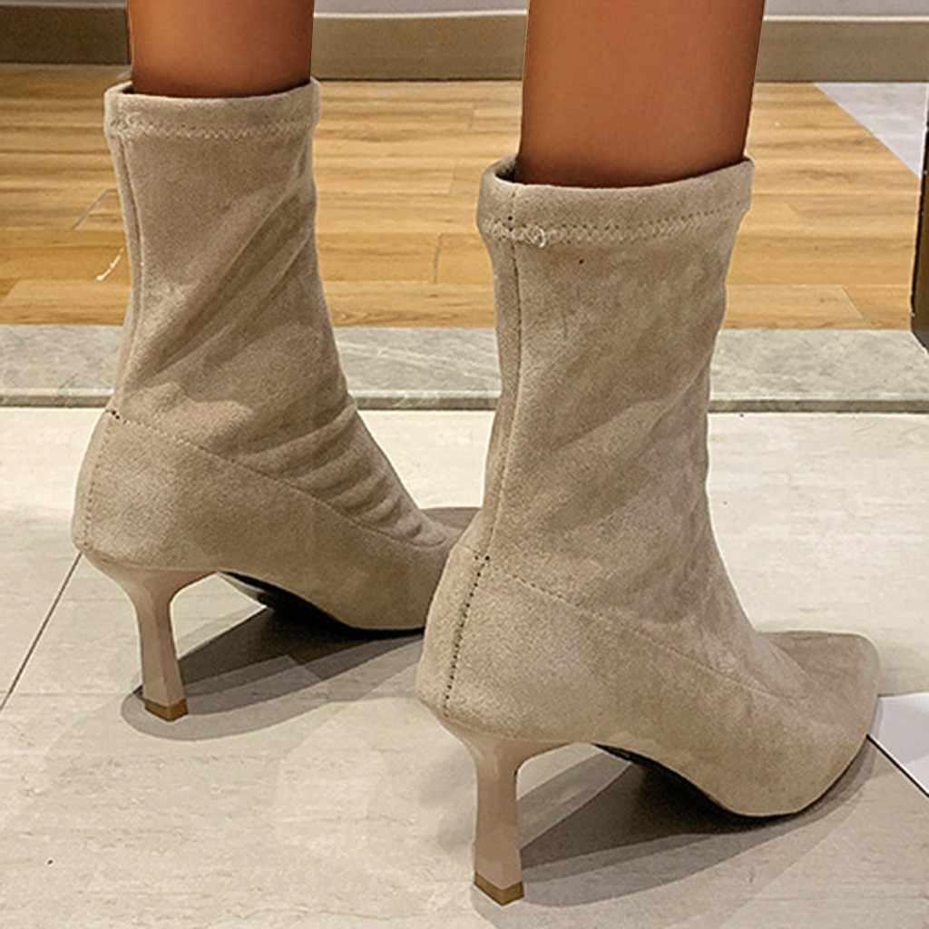 Phong Cách Châu Âu Sexy Nữ Mũi Nhọn Mùa Đông Màu Tất Giày Trượt Trên Đàn Ấm Đế Gót Giữa Trục giày