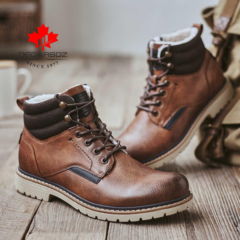 ฤดูหนาวหิมะบู๊ทส์ผู้ชาย 2019 ใหม่แฟชั่นรองเท้าบูท Man Comfy Plush รองเท้าผู้ชายรองเท้าสบายๆกลางแจ้ง LACE- UP Botas รองเท้าผู้ชาย