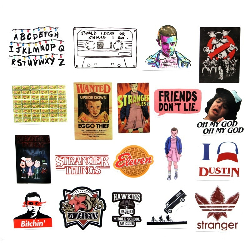 19 Pcs Set Stranger Things Sticker American Montauk for Laptop Luggage Car Notebook PVC Waterproof Graffiti Stickers Car Styling in Stickers from Toys Hobbies