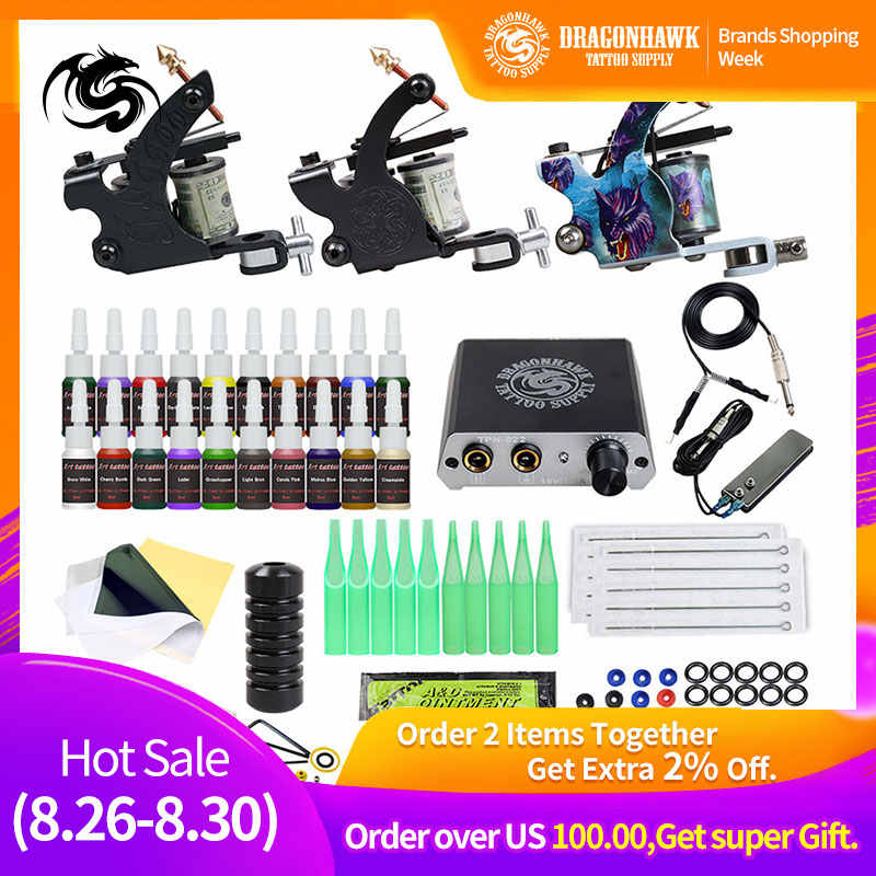Beginner Compleet Tattoo Kit 2 Machines Gun Zwarte Inkt Set Voeding Grips Body Art Gereedschap Set Permanente Make-Up Tattoo set