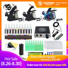 Beginner Complete Tattoo Kit 2 Machines Gun Black Ink Set Power Supply Grips Body Art Tools Set Permanent Makeup Tattoo set complete tattoo machine kit set 2 coils guns 5 colors black pigment sets power tattoo beginner grips kits permanent makeup