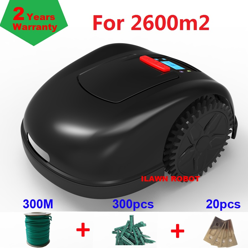 Newest Gyroscope Navigation Lawn Mower Robot E1600 With 6.6ah Lithium Battery+300m Wire+300pcs Pegs+20pcs Blade