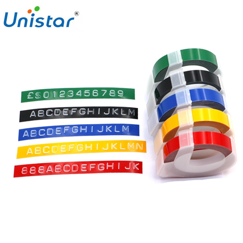 Unsitar 1 Roll 3D Embossing Tape Compatible For Dymo PVC Printer Ribbons Multiple Colors For 1610 1880 12965 Label Printers