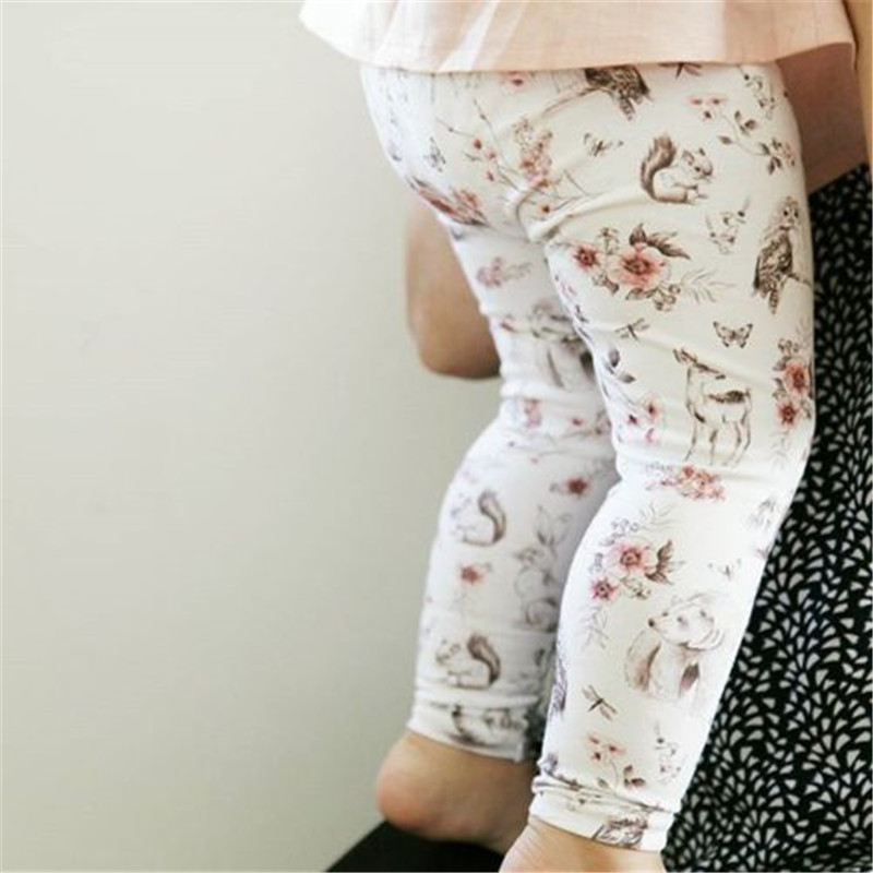 Floral Printing Baby Girls Long Pants New Fashion Kids Baby Girls Cartoon Flower Clothes Bottoms Leggings Pants Newborn Trousers