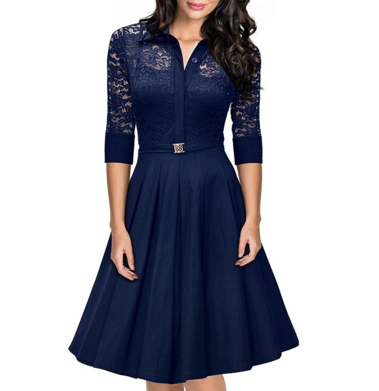 Women's Fashion Sexy Irregular Hem 3/4 Lace Sleeve Polyster Casual Cocktail Party Office Dress 2019 Women Dress Female