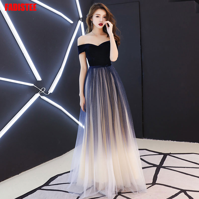 Navy Blue Elegant Prom Party Dresses  Vestido De Festa Dress Evening Long Frock Robe De Mariee Robe Communion Fille Robe Sequin