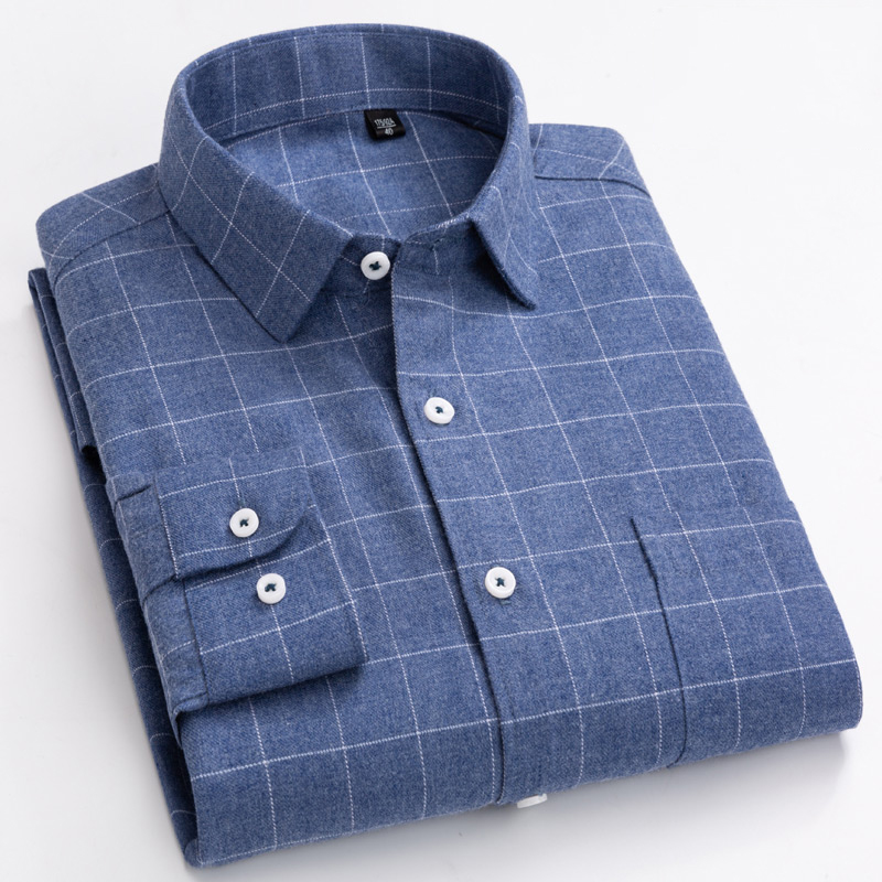 Men's Plaid Checkered Long Sleeve Brushed Shirts Single Patch Pocket Comfortable Soft Cotton Standard-fit Casual Thick Shirt