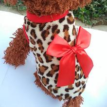 Fashion Pet Dog Leopard Bowknot Clothes Coral Fleece Puppy Clothes Comfortable Pet Costume Warm Dog Supplies coral fleece striped turtleneck clothes for dog