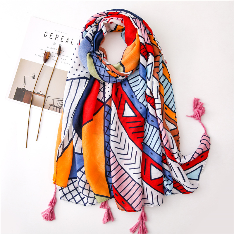 Cotton Linen Scarf Woman Sweet Geometric Spring And Autumn Long Viscose Scarf Summer Travel Shawl With Tassel