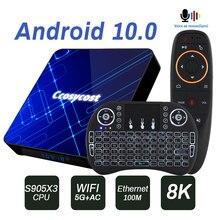 אנדרואיד טלוויזיה תיבת 10.0 Amlogic S905X34GB 32GbGB64GB 128GB טלוויזיה תיבת ממיר עם תאורה אחורית מקלדת אלחוטית USB 3.0 ultra HD 4K 8K
