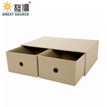 2 Drawers Cabinet Office Desk Top Organizer Home Storage Cabinet Beige Natural Paper Environment Friendly(2PCS)