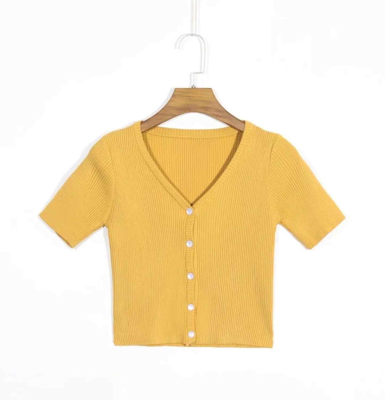 2020 AA 싱글 브레스트 버튼 V 넥 반소매 스웨터 여성 니트 타이트 카디건 프론트 슬릿 슬림 크로프트 스웨터 3 색