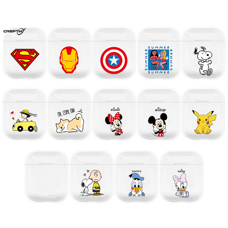 Wireless Bluetooth Earphone Case For Apple Airpods Cartoon Transparent Hard PC Case For Apple Air Pods Charging Headphone Box