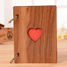 6 дюймов паста фотоальбом Полые Любовь Сердце Деревянный Ретро DIY скрапбук памяти подарок ручной работы Свадебный Молодежный альбом выпускной