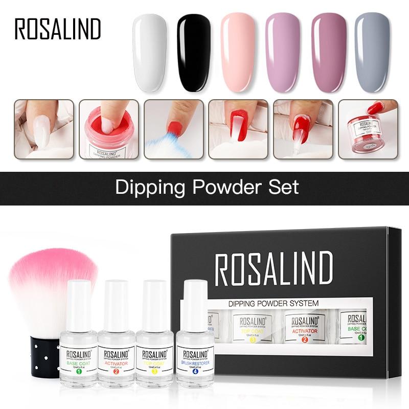 ROSALIND Dip Powder Set Nail Kit Glitter Holographic Powder Nail Art Decorations For Natural Dry Nails Dust No Need Cured Lamp